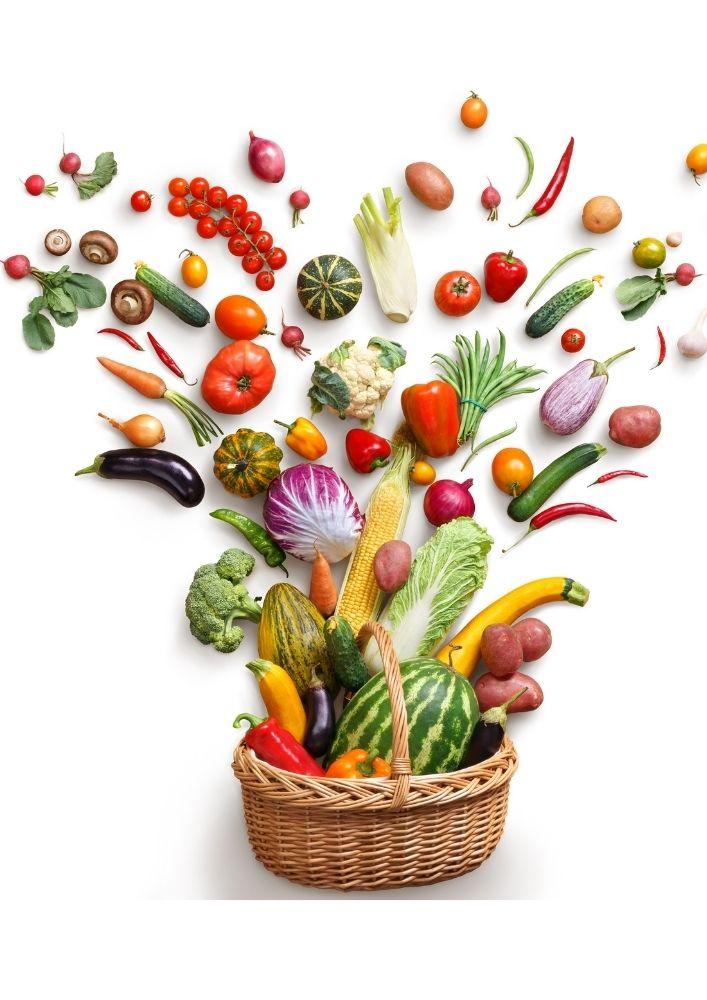 Kurv med frugt og grøntsager antiinflammtorisk mad