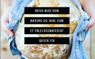 brød og viskestykke med tekst henover. Tekst om mad og følelser